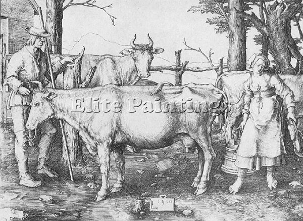 LUCAS VAN LEYDEN MILK MAID ARTIST PAINTING REPRODUCTION HANDMADE OIL CANVAS DECO