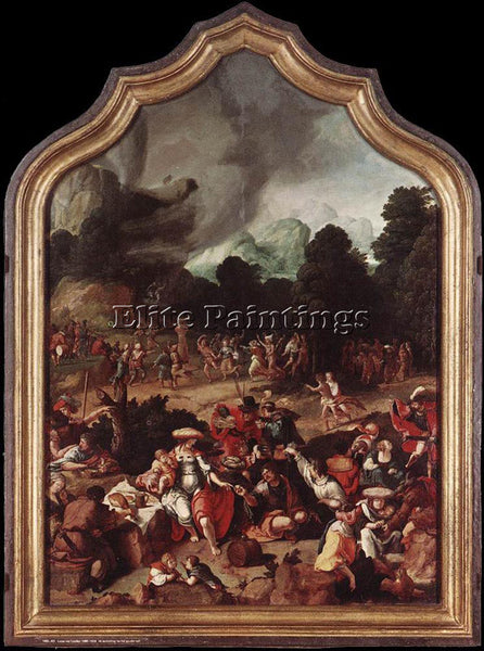 LUCAS VAN LEYDEN WORSHIPPING OF THE GOLDEN CALF ARTIST PAINTING REPRODUCTION OIL