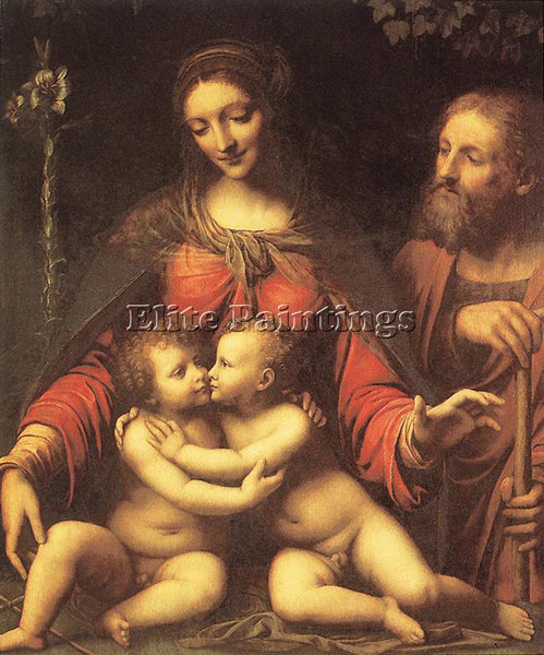 BERNARDINO LUINI HOLY FAMILY WITH THE INFANT ST JOHN ARTIST PAINTING HANDMADE