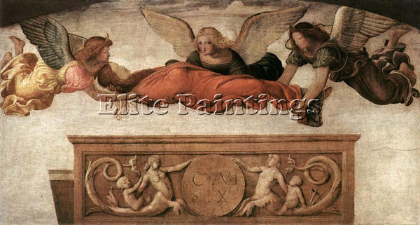 BERNARDINO LUINI ST CATHERINE CARRIED TO HER TOMB BY ANGELS ARTIST PAINTING OIL