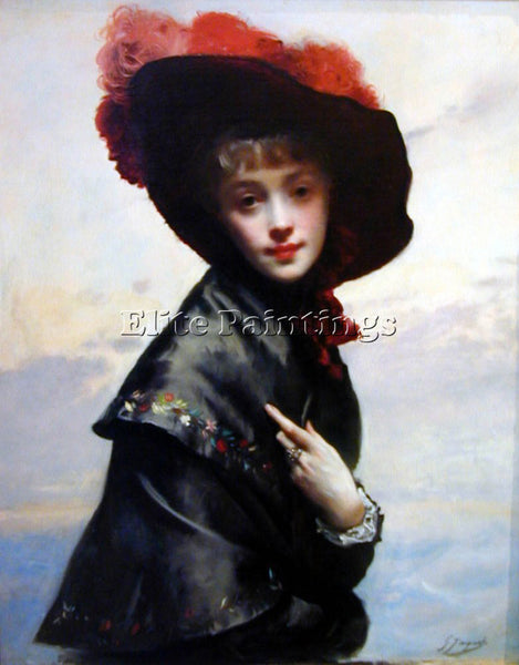 GUSTAVE JEAN JACQUET LA COQUETTE ARTIST PAINTING REPRODUCTION HANDMADE OIL REPRO