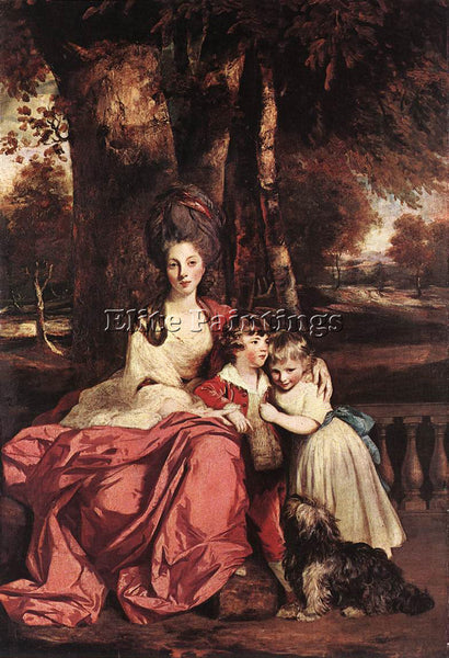 JOSHUA REYNOLDS LADY DELME AND HER CHILDREN ARTIST PAINTING HANDMADE OIL CANVAS