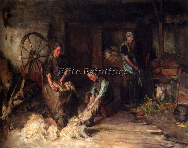 HOLLAND LAGUANA BARUCH LEAO LOPES DE FARM INTERIOR WITH PEASANT FAMILY PAINTING