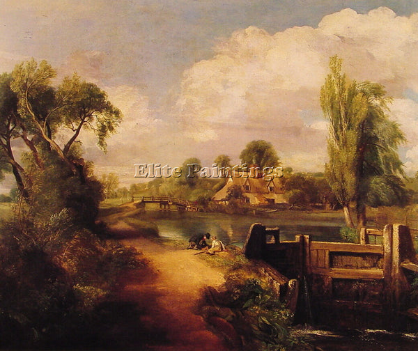 JOHN CONSTABLE LANDSCAPE BOYS FISHING ARTIST PAINTING REPRODUCTION HANDMADE OIL