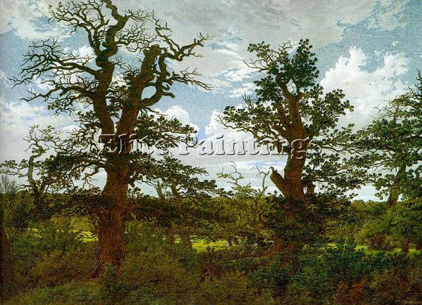 CASPAR DAVID FRIEDRICH LANDSCAPE WITH OAK TREES AND A HUNTER ARTIST PAINTING OIL