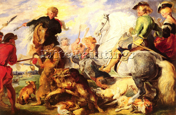 SIR EDWIN HENRY LANDSEER BRITISH WOLF AND FOX HUNT 40 6 BY 61CM ARTIST PAINTING
