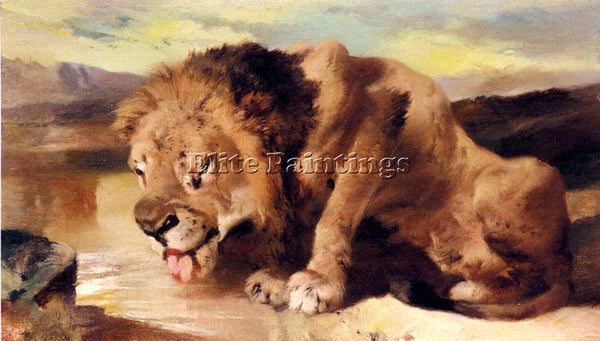 SIR EDWIN HENRY LANDSEER LION DRINKING AT A STREAM ARTIST PAINTING REPRODUCTION