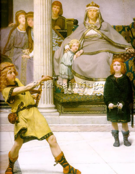 SIR LAWRENCE ALMA-TADEMA THE EDUCATION OF THE CHILDREN OF CLOVIS DETAIL PAINTING