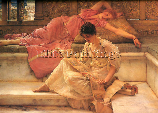 SIR LAWRENCE ALMA-TADEMA THE FAVOURITE POET ARTIST PAINTING HANDMADE OIL CANVAS