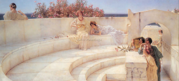SIR LAWRENCE ALMA-TADEMA UNDER THE ROOF OF BLUE IONIAN WEATHER PAINTING HANDMADE