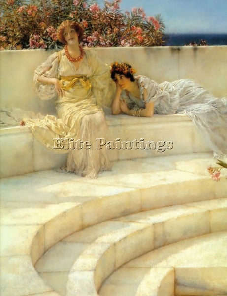 SIR LAWRENCE ALMA-TADEMA UNDER THE ROOF OF BLUE IONIAN WEATHER DETAIL ARTIST OIL