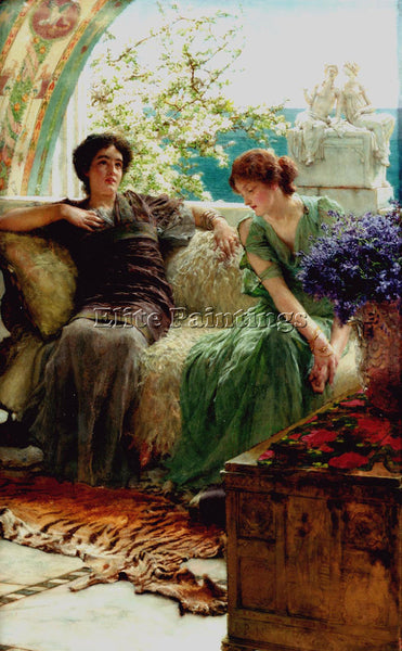 SIR LAWRENCE ALMA-TADEMA UNWELCOME CONFIDENCES ARTIST PAINTING REPRODUCTION OIL