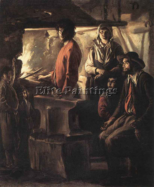 LOUIS LE NAIN BLACKSMITH AT HIS FORGE ARTIST PAINTING REPRODUCTION HANDMADE OIL