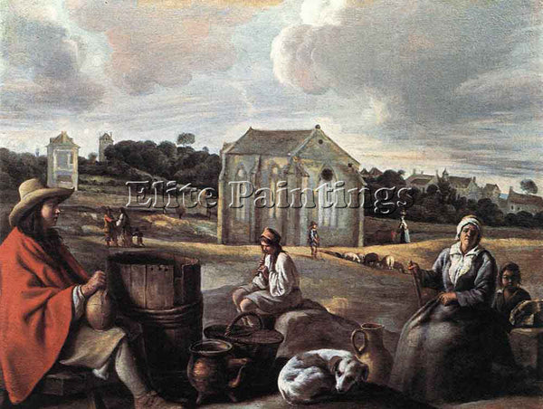 LOUIS LE NAIN LANDSCAPE WITH PEASANTS AND A CHAPEL ARTIST PAINTING REPRODUCTION