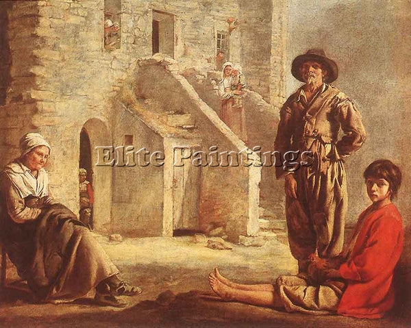 LOUIS LE NAIN PEASANTS AT THEIR COTTAGE DOOR ARTIST PAINTING HANDMADE OIL CANVAS
