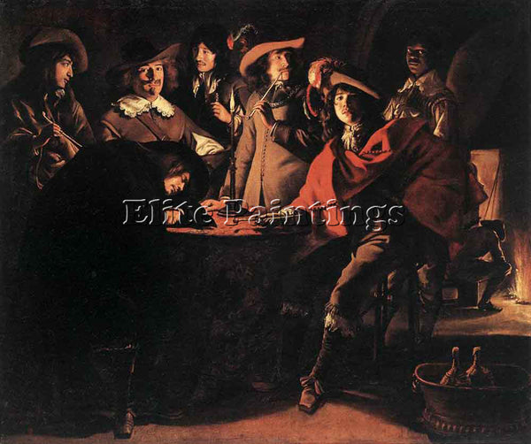 LOUIS LE NAIN SMOKERS IN AN INTERIOR ARTIST PAINTING REPRODUCTION HANDMADE OIL