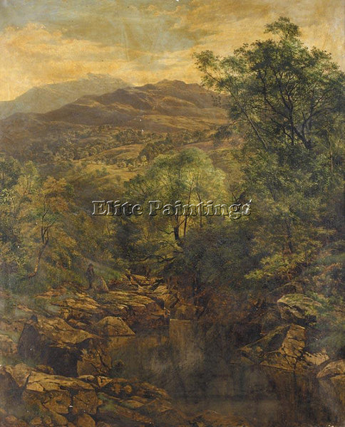BENJAMIN WILLIAMS LEADER A QUIET POOL IN GLENFALLOCH ARTIST PAINTING HANDMADE