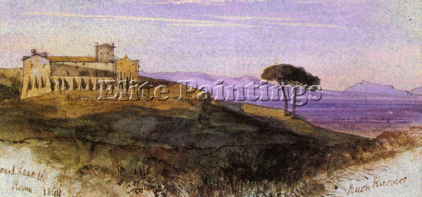EDWARD LEAR A VIEW IN THE ROMAN COMPAGNA ARTIST PAINTING REPRODUCTION HANDMADE