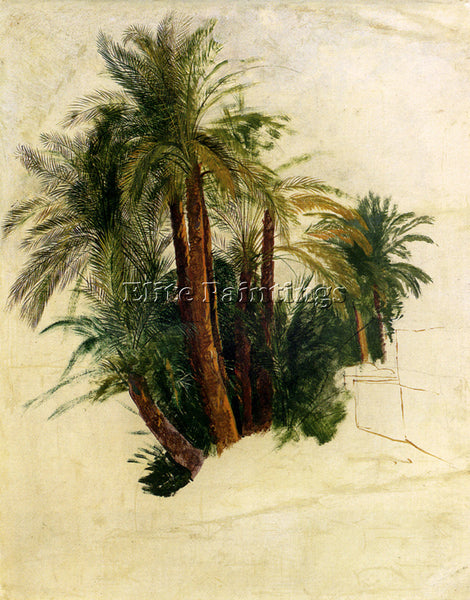 EDWARD LEAR STUDY OF PALM TREES ARTIST PAINTING REPRODUCTION HANDMADE OIL CANVAS