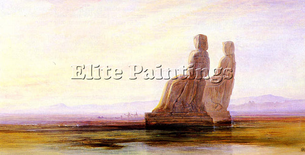 EDWARD LEAR THE PLAIN OF THEBES WITH TWO COLOSSI ARTIST PAINTING HANDMADE CANVAS
