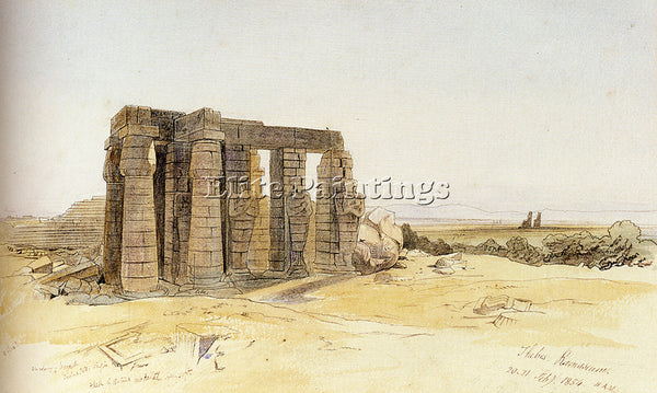 EDWARD LEAR THE RAMESSUM THEBES ARTIST PAINTING REPRODUCTION HANDMADE OIL CANVAS