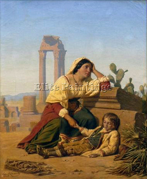 LECOMTE-VERNET GRIEF ARTIST PAINTING REPRODUCTION HANDMADE OIL CANVAS REPRO WALL