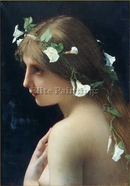 JULES JOSEPH LEFEBVRE NYMPH WITH MORNING GLORY FLOWERS ARTIST PAINTING HANDMADE