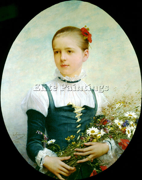 JULES JOSEPH LEFEBVRE PORTRAIT EDNA BARGER CONNECTICUT 1884 ARTIST PAINTING OIL
