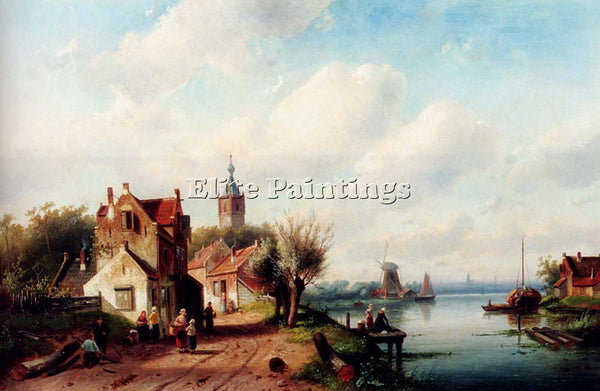 CHARLES HENRI JOSEPH LEICKERT A VILLAGE ALONG RIVER TOWN IN DISTANCE OIL CANVAS