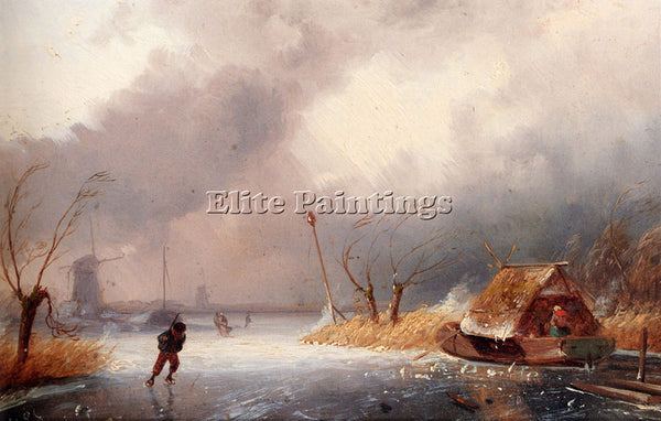 CHARLES LEICKERT A WINTER LANDSCAPE WITH SKATERS ON FROZEN WATERWAY PAINTING OIL
