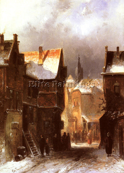 CHARLES HENRI JOSEPH LEICKERT A DUTCH TOWN IN WINTER ARTIST PAINTING HANDMADE