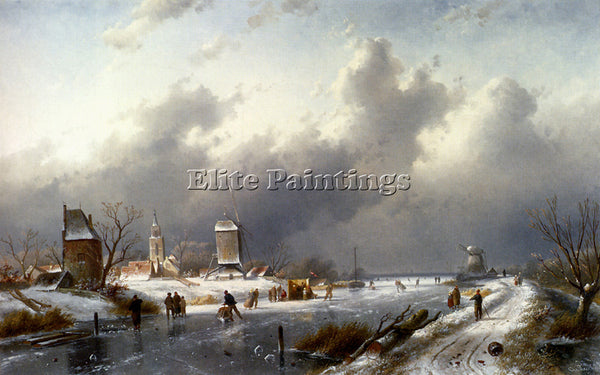 CHARLES HENRI JOSEPH LEICKERT A FROZEN WINTER LANDSCAPE WITH SKATERS OIL CANVAS