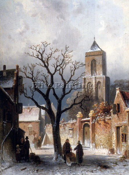 CHARLES HENRI JOSEPH LEICKERT A VILLAGE SNOW SCENE ARTIST PAINTING REPRODUCTION