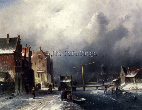 CHARLES HENRI JOSEPH LEICKERT FIGURES IN A DUTCH TOWN BY A FROZEN CANAL PAINTING