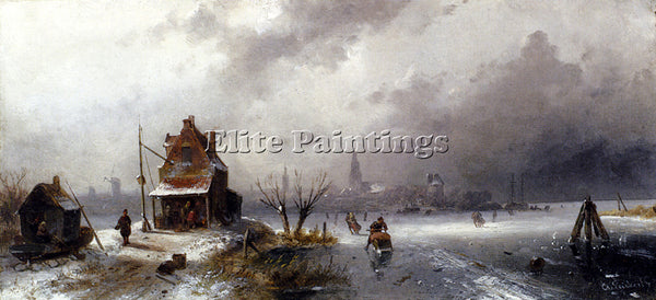CHARLES HENRI JOSEPH LEICKERT FIGURES ON A FROZEN LAKE ARTIST PAINTING HANDMADE
