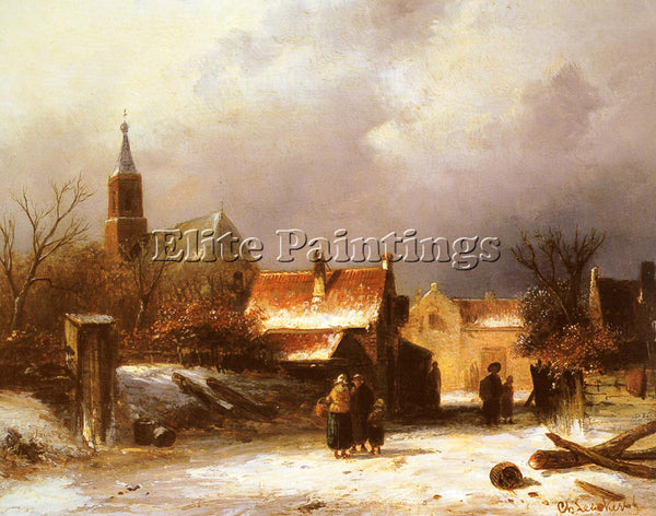 CHARLES HENRI JOSEPH LEICKERT FIGURES ON THE SNOW ARTIST PAINTING REPRODUCTION