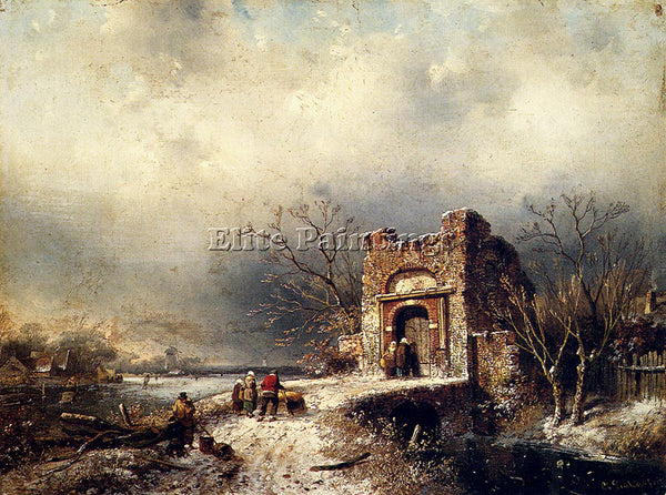 CHARLES HENRI JOSEPH LEICKERT VILLAGERS ON A FROZEN PATH ARTIST PAINTING CANVAS