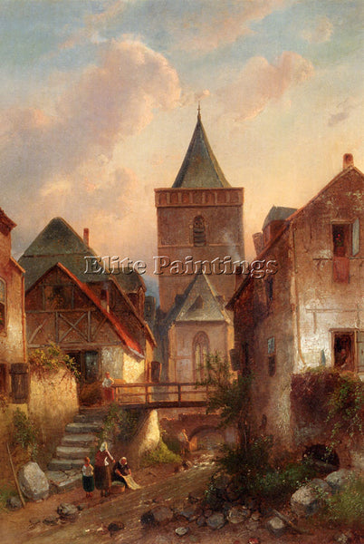CHARLES HENRI JOSEPH LEICKERT VIEW IN A GERMAN VILLAGE WITH WASHERWOMEN PAINTING