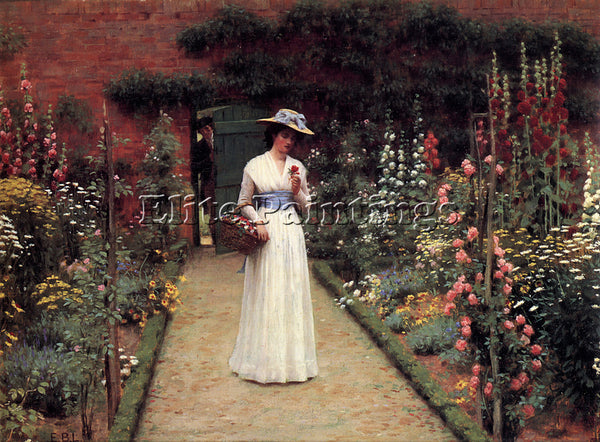 EDMUND BLAIR LEIGHTON LADY IN A GARDEN ARTIST PAINTING REPRODUCTION HANDMADE OIL
