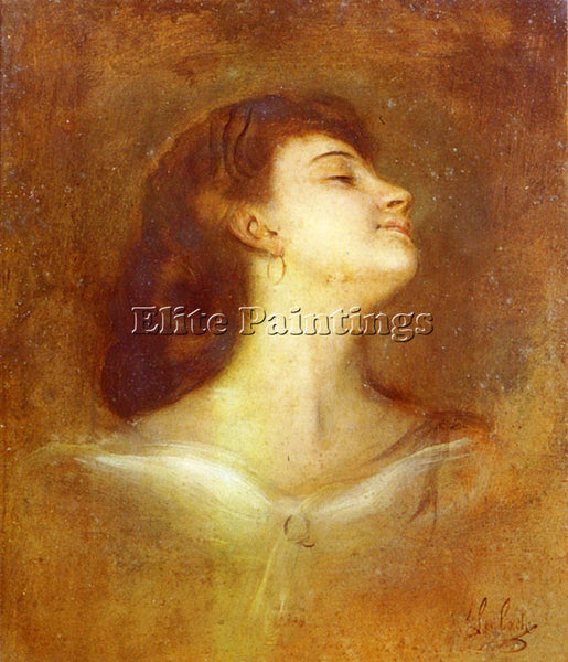FRANZ VON LENBACH PORTRAIT OF A LADY IN PROFILE ARTIST PAINTING REPRODUCTION OIL