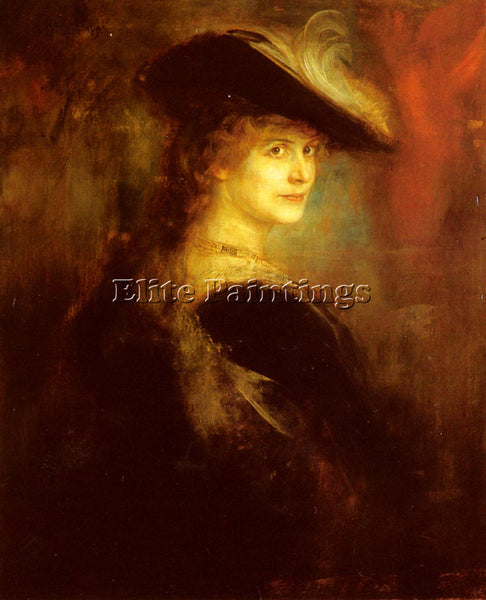 FRANZ VON LENBACH PORTRAIT OF AN ELEGANT LADY IN RUBENESQUE COSTUME PAINTING OIL