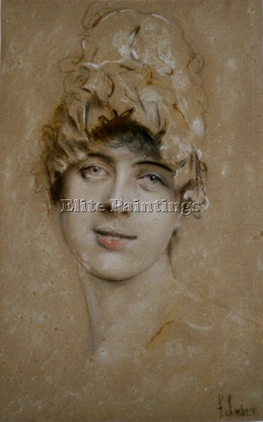 FRANZ VON LENBACH PORTRAIT OF A YOUNG WOMAN ARTIST PAINTING HANDMADE OIL CANVAS