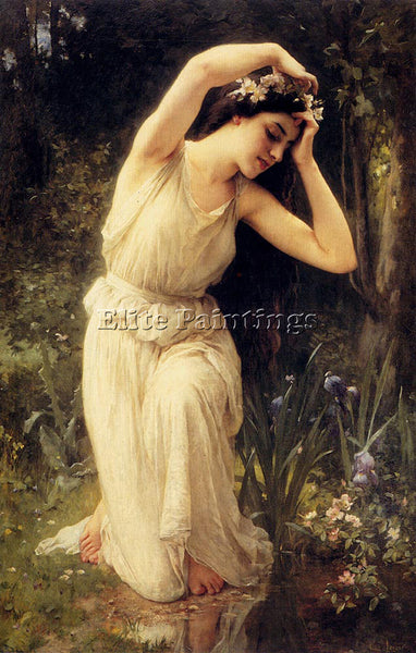 CHARLES AMABLE LENOIR A NYMPH IN THE FOREST ARTIST PAINTING HANDMADE OIL CANVAS