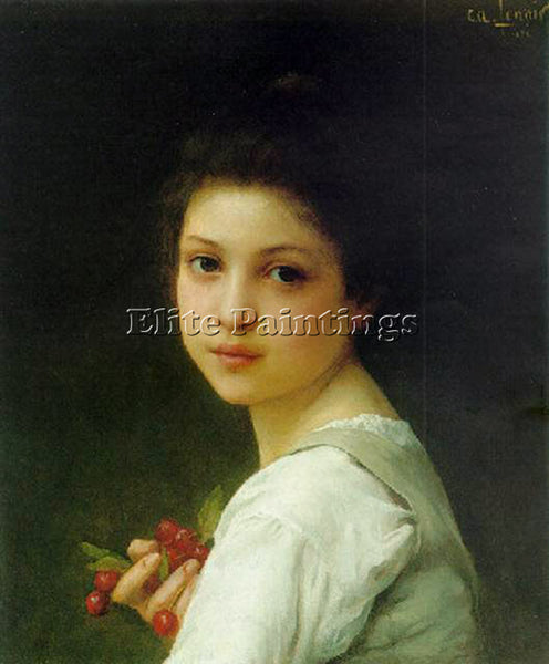 CHARLES AMABLE LENOIR PORTRAIT OF A YOUNG GIRL WITH CHERRIES ARTIST PAINTING OIL