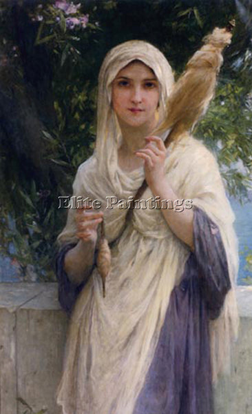 CHARLES AMABLE LENOIR THE SPINNER BY THE SEA ARTIST PAINTING HANDMADE OIL CANVAS