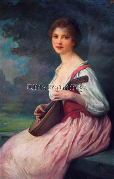 CHARLES AMABLE LENOIR LA MANDOLINE ARTIST PAINTING REPRODUCTION HANDMADE OIL ART
