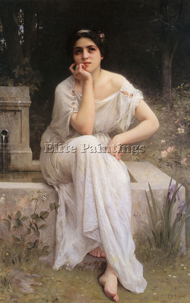 CHARLES AMABLE LENOIR MEDITATION 1899 ARTIST PAINTING REPRODUCTION HANDMADE OIL