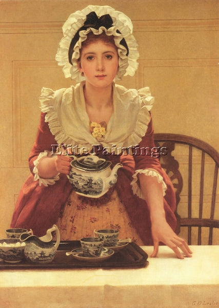 GEORGE DUNLOP LESLIE GD TEA ARTIST PAINTING REPRODUCTION HANDMADE OIL CANVAS ART
