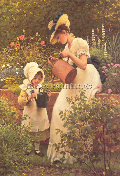 GEORGE DUNLOP LESLIE GD THE YOUNG GARDENER ARTIST PAINTING REPRODUCTION HANDMADE