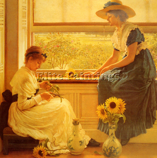 GEORGE DUNLOP LESLIE G D SUN AND MOON FLOWERS ARTIST PAINTING REPRODUCTION OIL